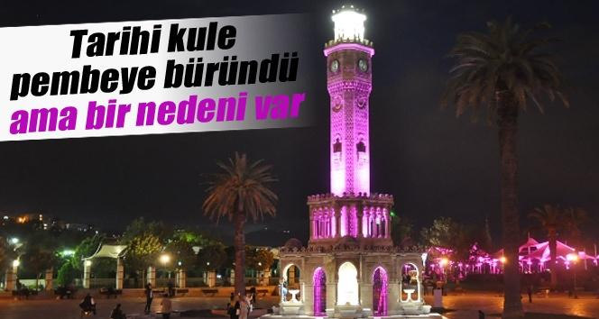 İzmir Saat kulesi pembe oldu İZLE