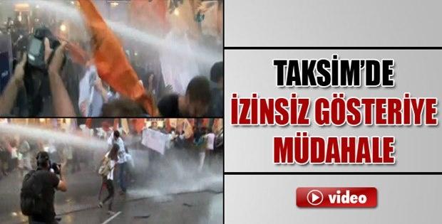 Taksim'de İzinsiz Gösteriye Polis Müdahalesi İzle