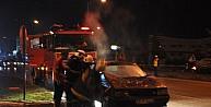 Seyir Halindeki Lpg'li Otomobil Yandı, 5 Kişi Son Anda Kurtuldu