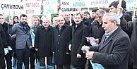"""TEKİRDAĞDA AK PARTİLİLERDEN ÇAMURLU YOL"""" EYLEMİ"""